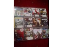 ps2 games plus memory cards, ps3 games, psp games and steering wheel for sale.