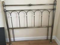 DOUBLE BED HEADBOARD IN PEWTER WITH CRYSTAL STYLE ACCENTS
