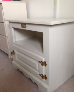 White Clad Chest / End table/TV stand -Vintage reproduction