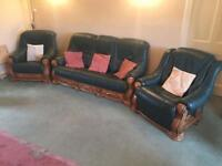Genuine Leather, Oak Wood, 3piece Suite.