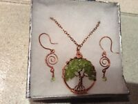Antique Copper Tree of Life Necklace & Earrings with Peridot stones
