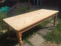 Large 7ft solid pine farmhouse dining table.