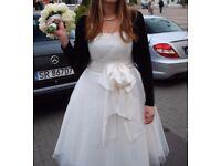 1950's style wedding 3/4 length off-white dress