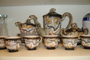 Dragon Ware Moriage Satsuma Tea Set  geisha girl  Lithophane