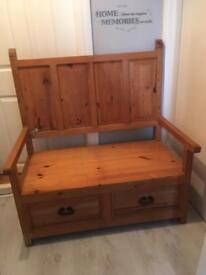 Large Monks Bench with storage drawers