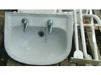 Complete disabilty toilet set wc wash basin cistern and hand rails