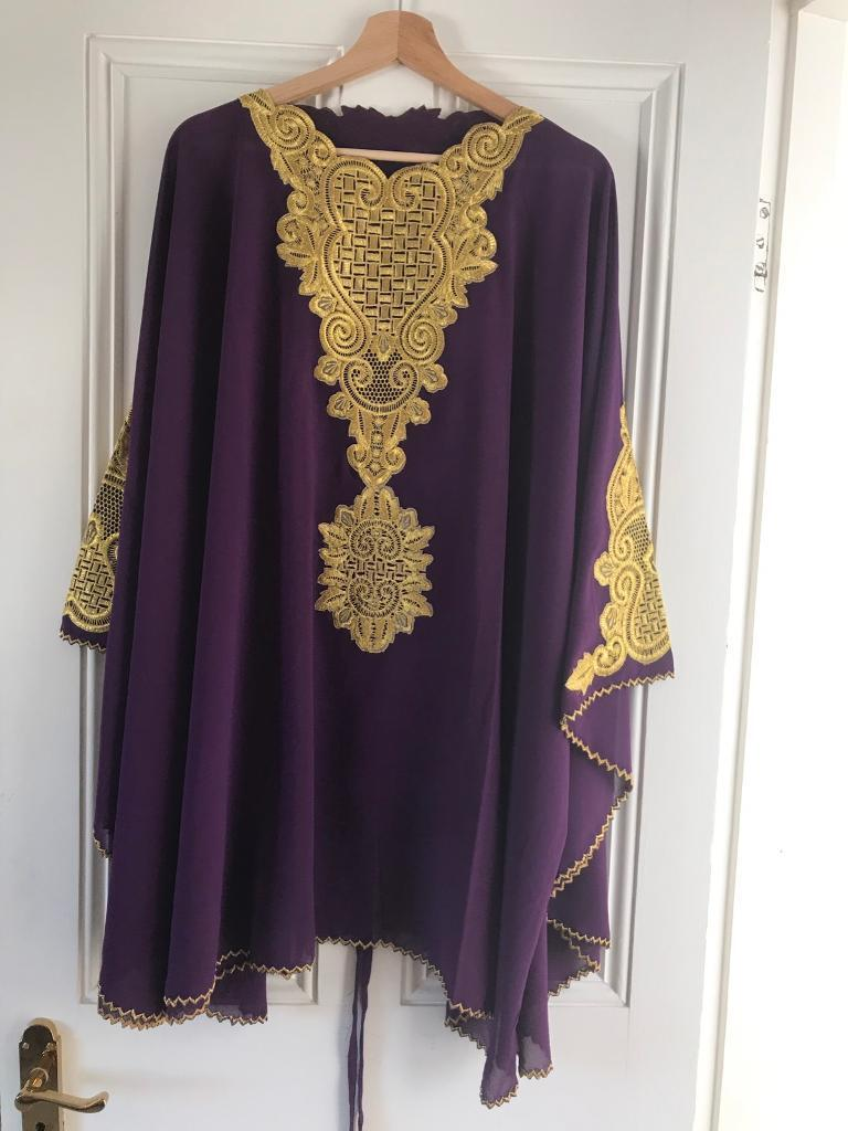 NEW Purple Chiffon Kaftan with Golden Embroidery - free UK delivery