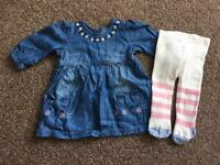 0-3 month dress and tights