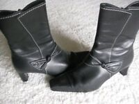 Black Leather Ankle Boots - PRICE REDUCED.