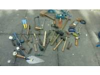 Old tools,hammers x 5, saws,pliers,hand drill,etc 40 pieces lot