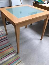 4 seater glass top table