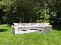 Brand new corner sofa silver crushed velvet fabric sofa