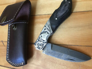 Custom Damascus folding knife