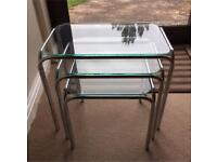 Nest of glass tables set of 3