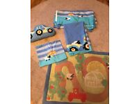 NEXT children's farmyard bedroom set - cushion, duvet set, lined curtains & rug