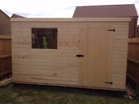 GARDEN PENT SHED/WORKSHOP 10X8 HEAVY DUTY TONGUE AND GROOVE WELL MADE BUILDINGS NOTTINGHAMSHIRE