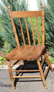 antique wood chair with solid cherry wood seat