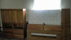 Oak Headboard and Queen Mattress and Boxspring Reduced to $250