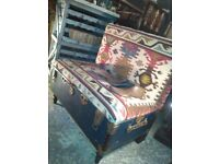 Vintage upcycled travel trunk bench with storage upholstered in handmade kilim reuse surrey london