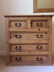 Genuine Mexican Rustic Pine Chest of Draws and 2 Bedside Cupboards