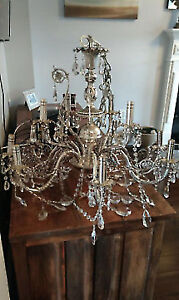Large Metal Antiqued Style Chandelier