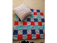 SOLD! available on request .Handmade kids/baby's yacht blanket with matching cushion cover