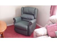 Riser recliner electric chair,Pale green Leather,Excellent condition,£175