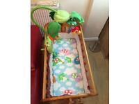 Baby swing crib with toy and accessories