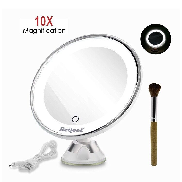 LED mirror BRAND NEWin Biddulph, StaffordshireGumtree - Lighted Vanity Makeup Mirror, 10X Magnification Travel Cosmetic Mirror Touch Activated Dimmable LED Suction Bathroom Mirror Daylight Color Illuminated 360 Degrees Rotation and Battery Operated