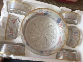 Dessert bowl set boxed brand new. One large bowl with 6 bowls.