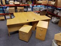 2 x Office Desks and 1 Set Drawers and 1 Filing Cabinet