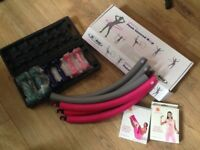 Ladies fitness/exercise equipment: dumbbells, weighted hoop and Pilates bands