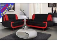 *COME AND VIEW IT ,TRY IT THEN BUY IT* NEW CAROL 3+2 SOFA SUITE BLACK/WHITE OR BROWN/CREME