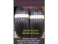 205-55-16 / 205-55 R16 Michelin Primacy Part Worn Tyres 5mm+ Tread fitted