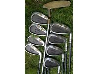 GRAPHITE golf irons, woods, putter, trolley bag & LOTS of golfing extras - BARGAIN only £75 ovno !!