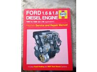 HAYNES Service and Repair Manual for FORD 1.6 & 1.8 DIESEL ENGINES 1984-1996 (A to N registration)