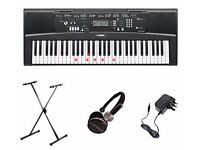 Yamaha EZ220 61 Key Keylighting Keyboard with stand, stool + Chase CH-20 Headphones