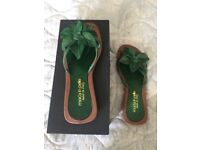 Brand new green leather flower sandals / flip-flops size 6