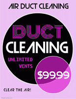 DUCT CLEANING UNLIMITED VENTS! BOTH HOT & COLD AIR RETURNS $99.9