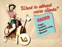 Logo, leaflet, brochure, card, banner, newsletter design. Affordable prices from £15 .