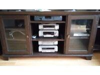 Ikea dark wood TV and stereo cabinet