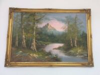 G. Whitman - Forest River Mountain View - Original Oil Painting on Board