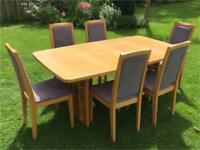 Solid wood 'Skovby' Table and 6 Chairs