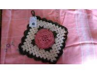 New Handmade Crochet Rose Wool Pot/Table Mat