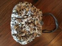 Beautiful COAST clutch bag, 100% silk, bead detail, flower clasp, rope handles