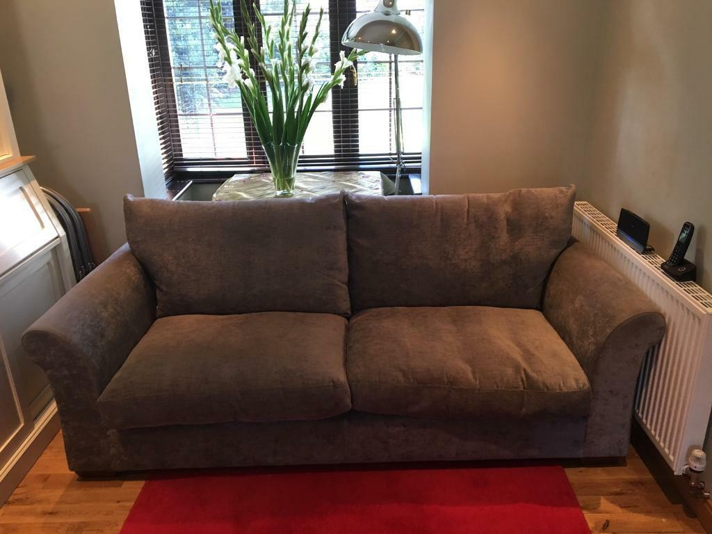 Large M S 3 Seater Grey Chenille Sofa