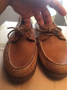 Men's Sperry Topsidders 13W in natural beige leather