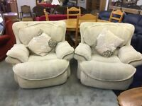 Cream x2 Soft Fabric Armchairs