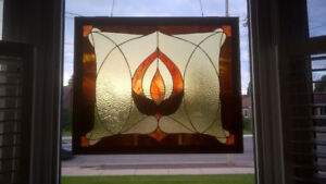 Gorgeous Window Stained Glass Brown 31.5 x 26