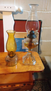 Vintage two old oil lamps good condition